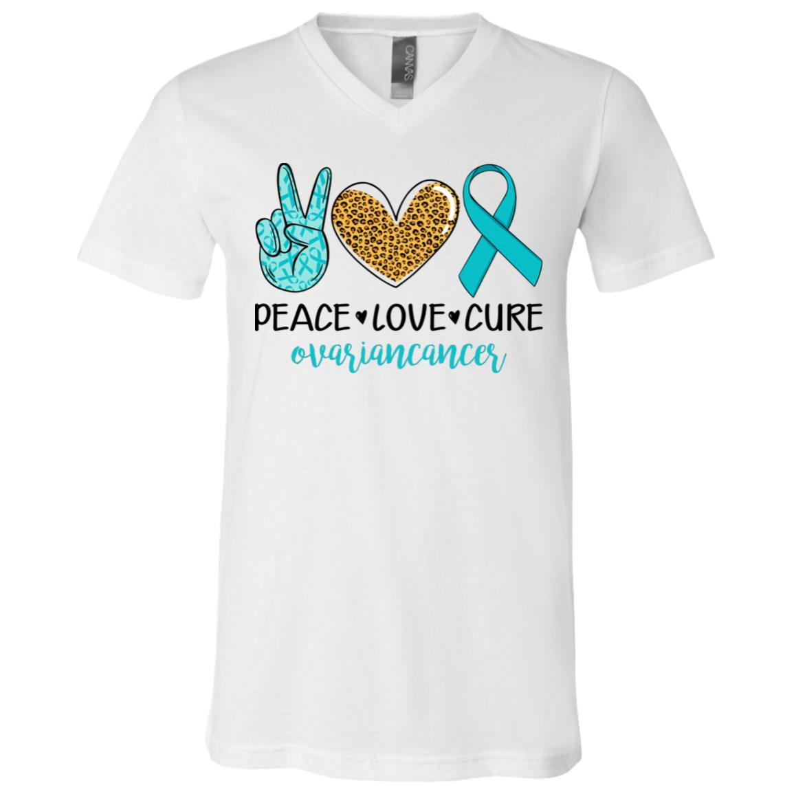 Ovarian Cancer Shirt Peace Love Cu Re Ovarian Cancer Awareness T Shirt V Neck Cubebik