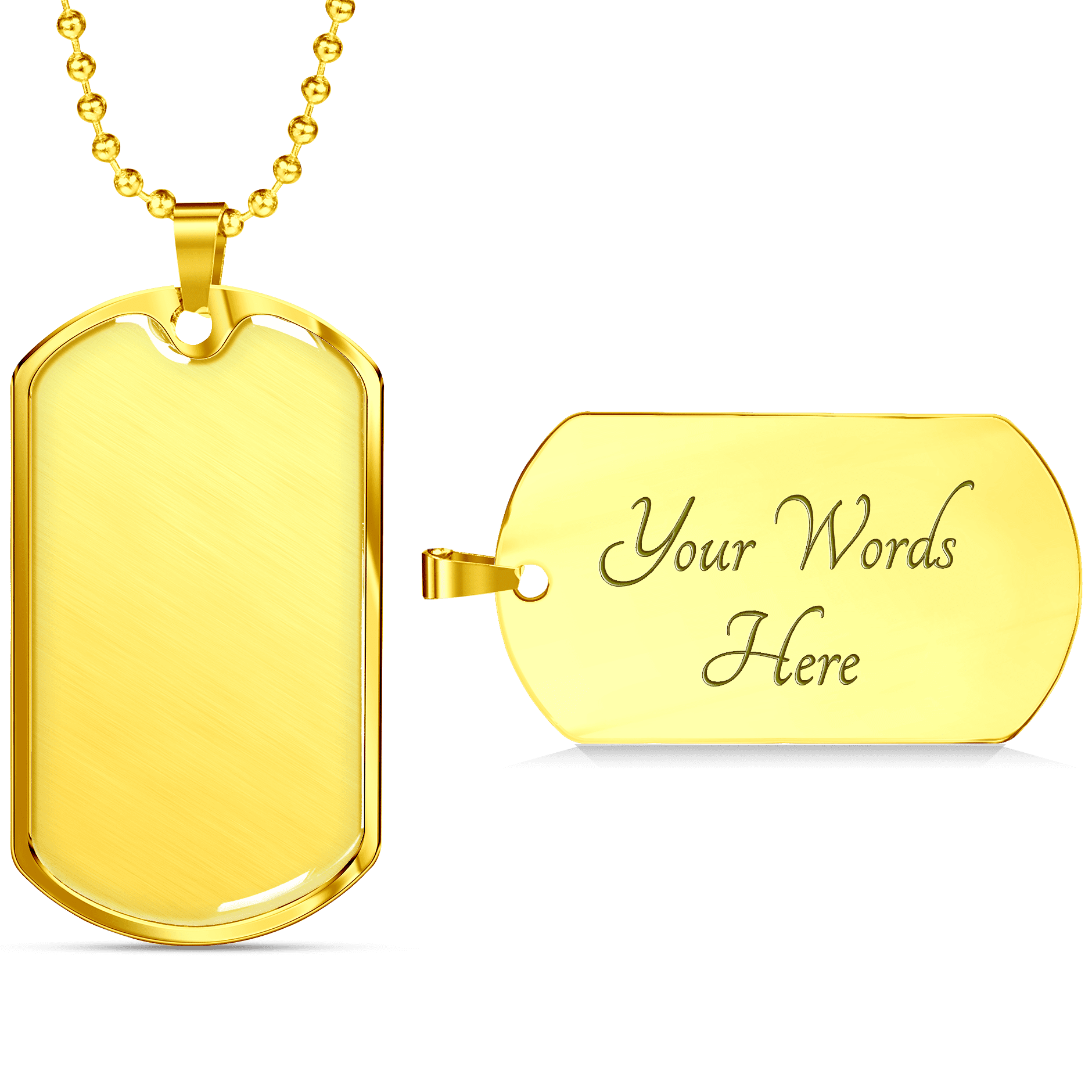 Dog Tag Necklace Engraving Gold Sample